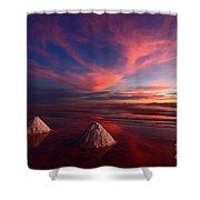Fiery Clouds Over The Salar De Uyuni Shower Curtain
