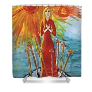 Fiery Eight Of Swords Illustrated Shower Curtain