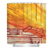 Fiery Four Of Swords Illustrated Shower Curtain