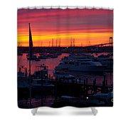 Fiery Harbor Shower Curtain