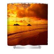 Fiery Lanikai Beach Shower Curtain