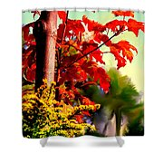 Fiery Red Autumn Shower Curtain