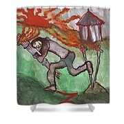 Fiery Seven Of Swords Illustrated Shower Curtain