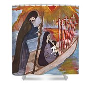 Fiery Six Of Swords Illustrated Shower Curtain