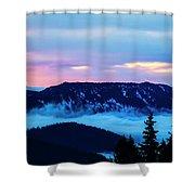 Fiery Sunrise From Mt. Hood Shower Curtain