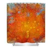 Fiery Sunset Abstract Painting Shower Curtain by Julia Apostolova