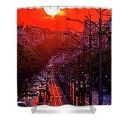 Fiery Sunset In Belgrade Belgradehenge Shower Curtain