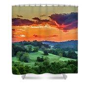 Fiery Sunset On The Farm Shower Curtain
