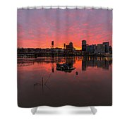 Fiery Sunset Over Portland Skyline Shower Curtain