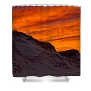 Fiery Sunset Over The Dunes Shower Curtain