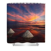 Fiery Sunset Over The Salar De Uyuni Shower Curtain