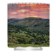 Fiery Sunset Panorama Over Davis Mountains State Park - Keesey Canyon Blue Mountain Limpia Canyon - Shower Curtain