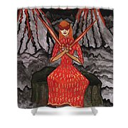 Fiery Two Of Swords Illustrated Shower Curtain