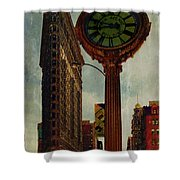 Fifth Avenue Clock And The Flatiron Building Shower Curtain