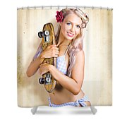 Fifties And Sixties Australian Surf Skate Culture Shower Curtain