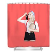 Fifties Diner Pin-up Waiter Serving Soft Drink  Shower Curtain