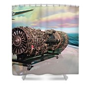 Fighter Jet Engine Shower Curtain