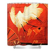 Fighting Crane 1  Shower Curtain