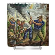 Fighting Forest Fire Shower Curtain