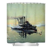 Fighting On July In The Yellow Sea Shower Curtain by Konstantin Veshchilov