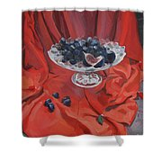 Figs And Grapes On Red  Shower Curtain