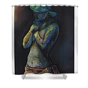 Figure Hat And Scarf Shower Curtain