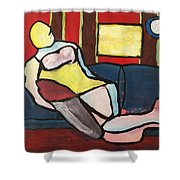 Figure On Couch Shower Curtain