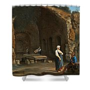 Figures At The Cave Of Egeria Shower Curtain