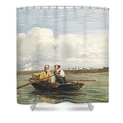 Figures In A Boat On The Thames, Gravesend Shower Curtain