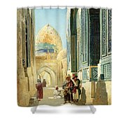 Figures In A Street Before A Mosque Shower Curtain