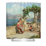 Figures On A Terrace In Capri  Shower Curtain
