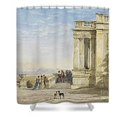 Figures On A Terrace With Greyhounds Shower Curtain