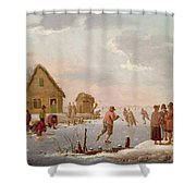 Figures Skating In A Winter Landscape Shower Curtain