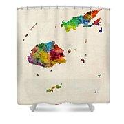 Fiji Watercolor Map Shower Curtain