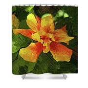 Fijian Hibiscus Abstract In Del Mar 1 Shower Curtain