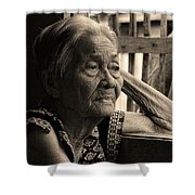 Filipino Lola Image Number 33 In Black And White Sepia Shower Curtain