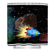 Film Frame With Asteroid And Rocket Shower Curtain