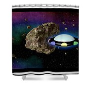 Film Frame With Asteroid And Ufo Shower Curtain