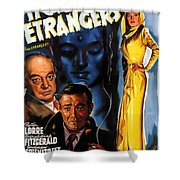 Film Noir Poster Three Strangers Shower Curtain