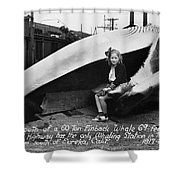 Fin Whale 69 Feet Long At Fields Landing Whaling Station Circa 1945 Shower Curtain