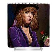 Fine Art Digital Portrait Stevie Nicks Crescent Moon Top Hat Shower Curtain