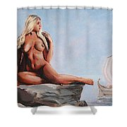 Fine Art Female Nude Jennie As Seanympth Goddess Multimedia Painting Shower Curtain