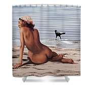 Fine Art Female Nude Multimedia Oil Painting Stacy Sitting Gulf Coast Florida Shower Curtain