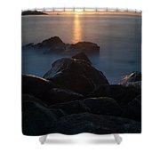 Fine Art- Sunset Rocks Shower Curtain