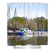 Fine Day To Sail - Illustration Style  Shower Curtain