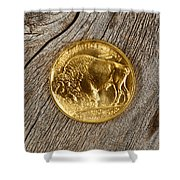 Fine Gold Buffalo Coin On Rustic Wooden Background Shower Curtain