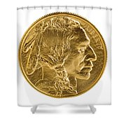 Fine Gold Buffalo Coin On White Background  Shower Curtain