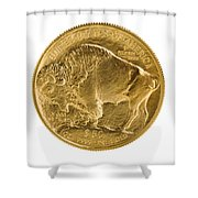 Fine Gold Buffalo Gold Coin On White Background  Shower Curtain