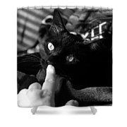 Finger Kiss Cat Shower Curtain