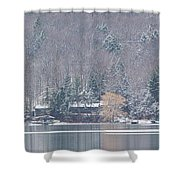Finger Lakes Winter Panorama Shower Curtain